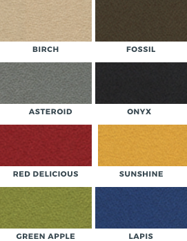 colors for acoustic panels including birch, fossil, asteroid, onyx, red delicious, sunshine, green apple, lapis