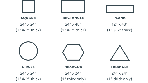 shapes including square, rectangle, plank, circle, hexagon and triangle